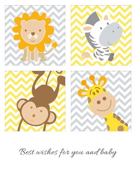 baby card lion zebra monkey giraffe