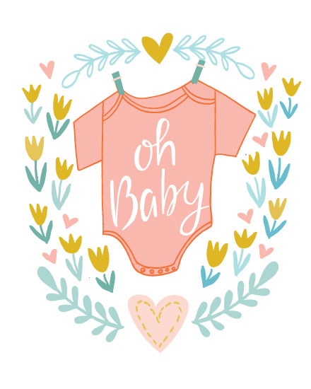 baby card oh baby onesie orange