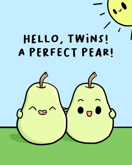 baby card perfect pear of twins