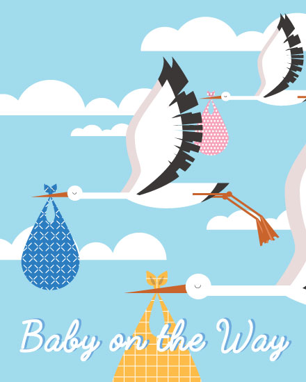 baby card stork delivery baby on the way