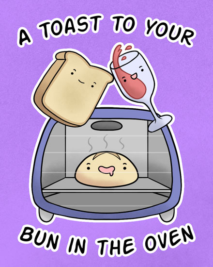 baby card toast to your bun in the oven