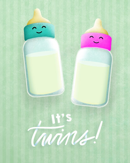 baby card twin bottles