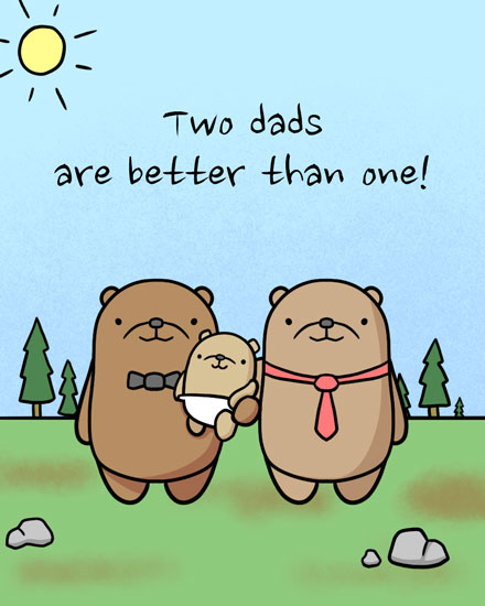 baby card two dads bears