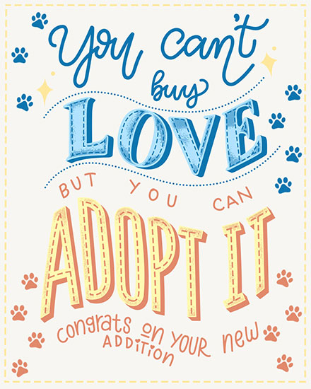 baby card you cant buy love but you can adopt it