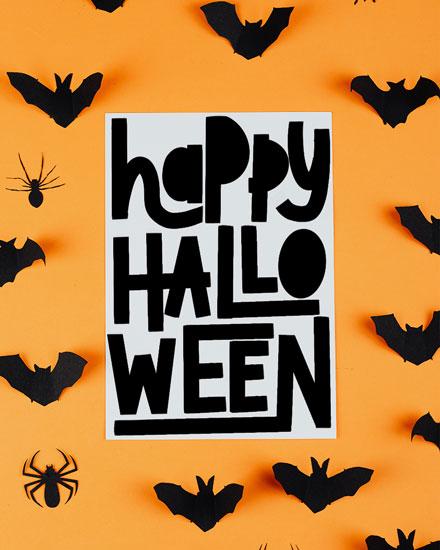halloween card happy halloween bats and spiders