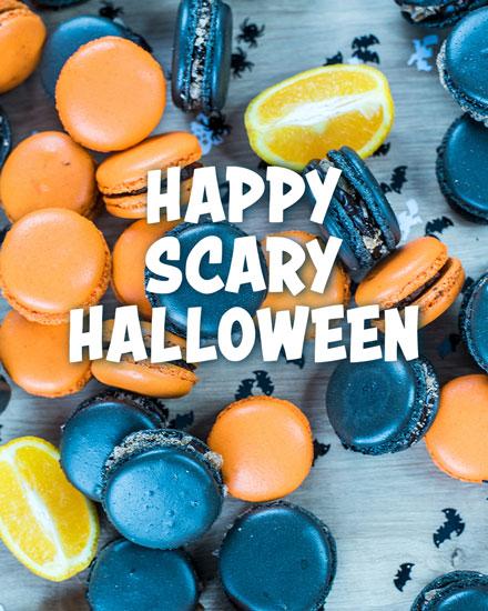 halloween card happy scary halloween macaroons