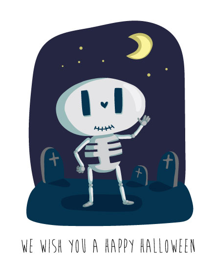 halloween card we wish you a happy halloween skeleton