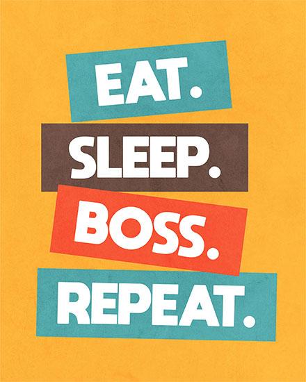 boss day card eat sleep boss repeat