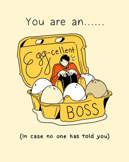 boss day card to an eggcellent boss