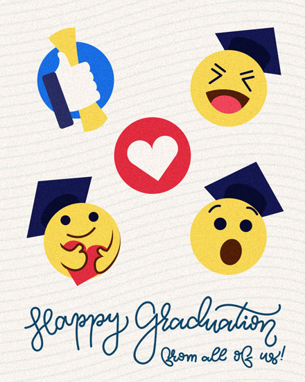 graduation card facebook emoji reactions