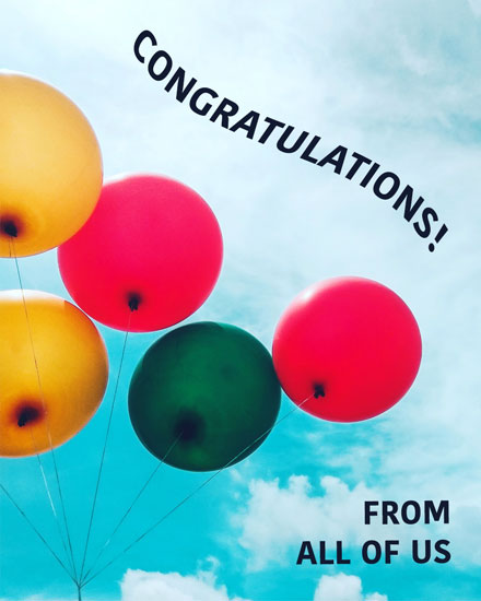 congratulations card balloons against clouds