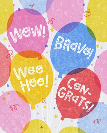congratulations card balloons confetti