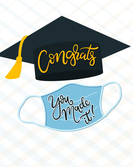 graduation card cap and mask