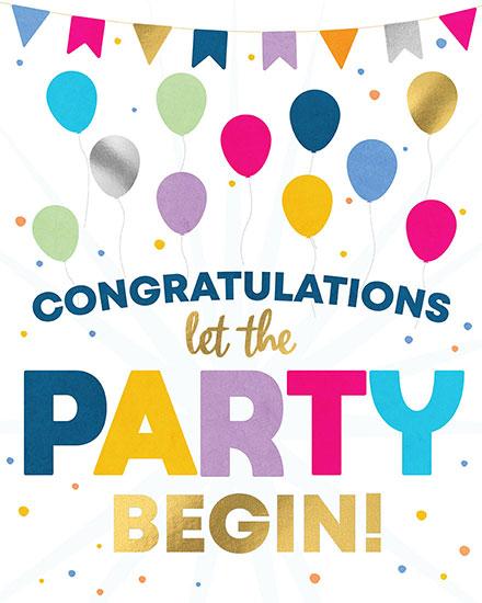 congratulations card let the party begin