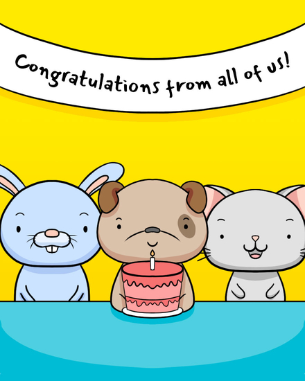 congratulations card cute creatures