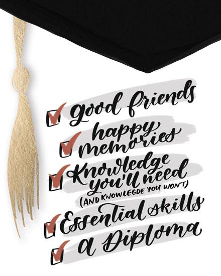 graduation card graduation checklist cap and tassle