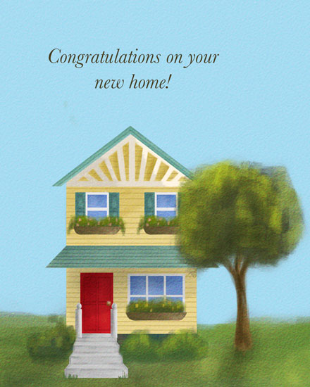 congratulations card house with red door