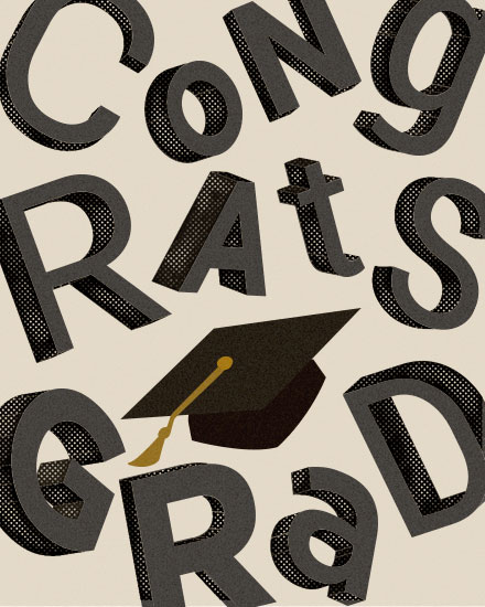 graduation card jumbled letters and cap