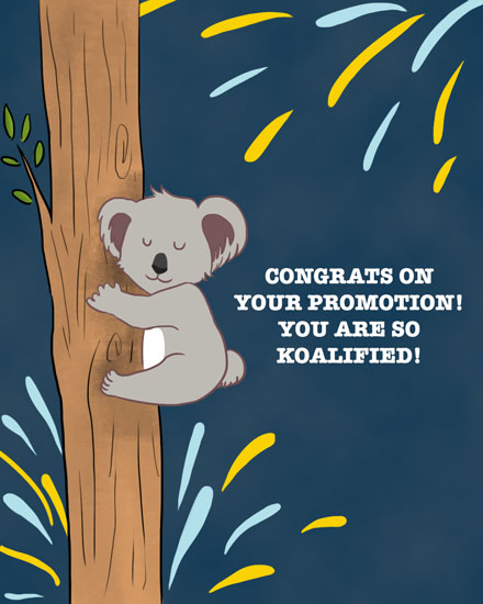 congratulations card koalafied promotion