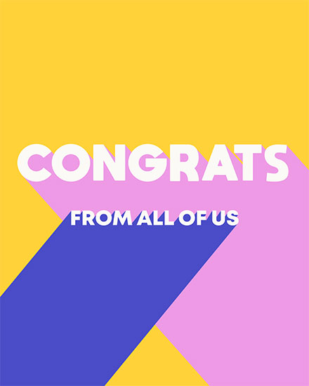 congratulations card congrats from all of us