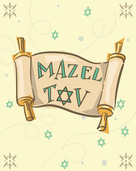 congratulations card mazel tov scroll