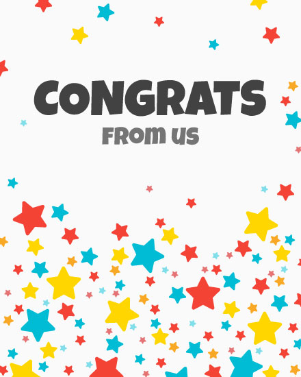 congratulations card multi color stars