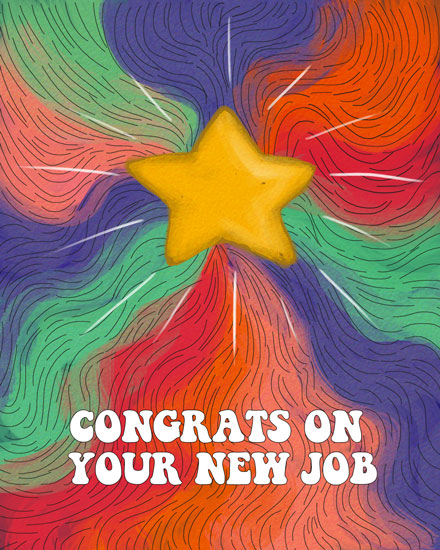congratulations card new job star