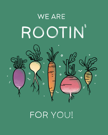 congratulations card wer are rootin for you root vegetables