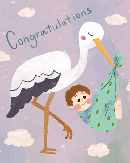congratulations card stork baby
