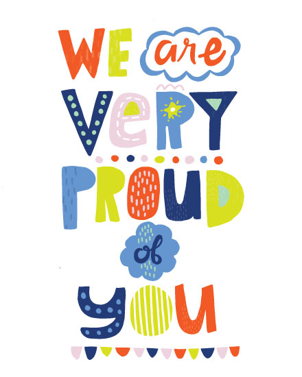 congratulations card we are very proud of you