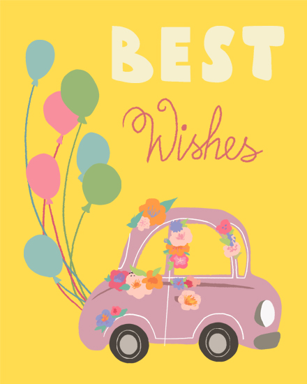 wedding card car best wishes balloons flowers