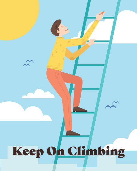 encouragement card man climbing ladder