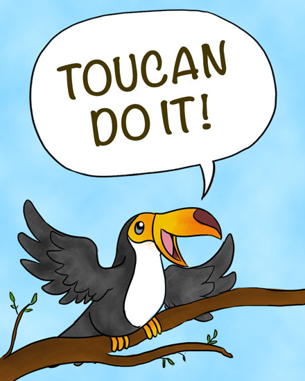 encouragement card toucan do it pun