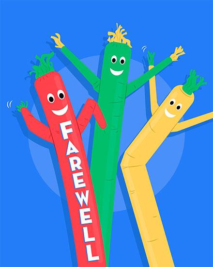farewell card air dancers
