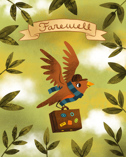 farewell card bird suitcase