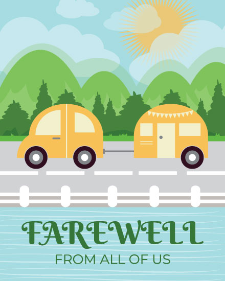 farewell card camper road trip