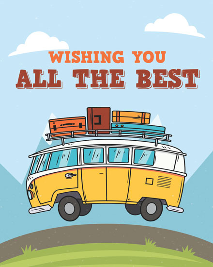 farewell card camper van adventure wish you well