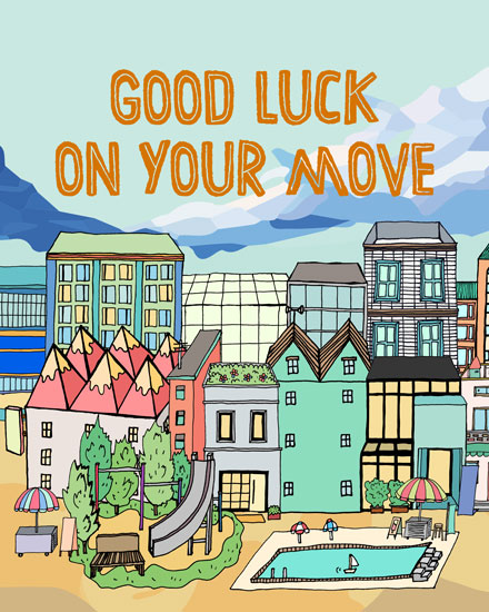 farewell card cityview move good luck