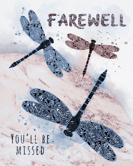 farewell card dragonflies