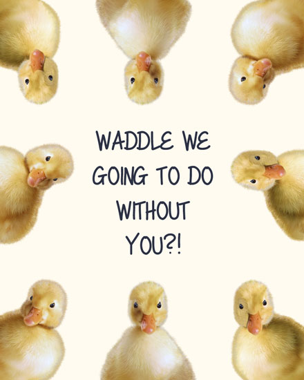 farewell card waddle we do without you