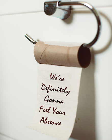 farewell card empty toilet roll