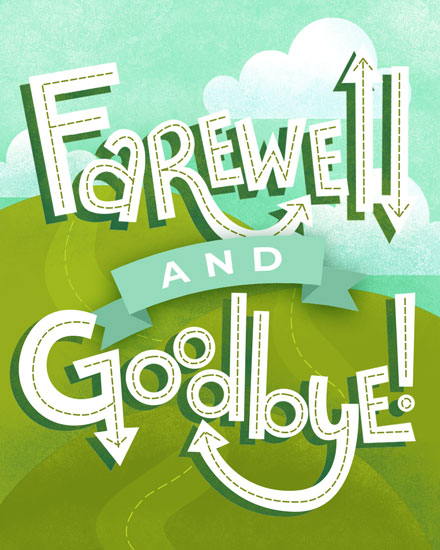 farewell card farewell and goodbye