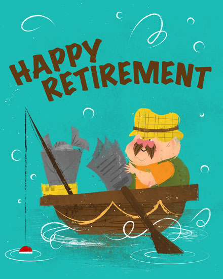farewell card retirement fishing boat fisherman