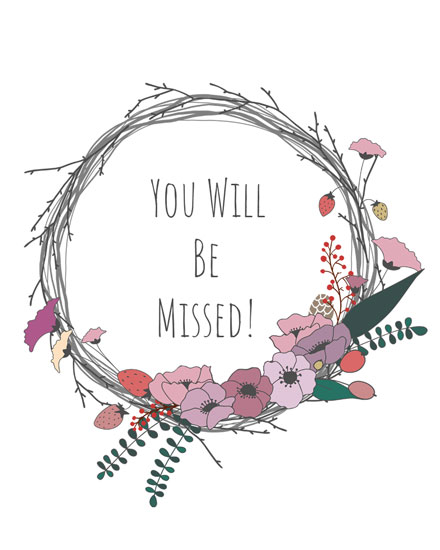 farewell card floral twig wreath