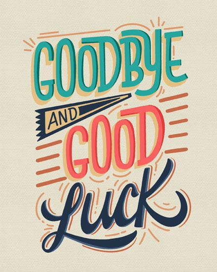 farewell card goodbye and good luck