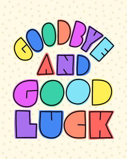 farewell card goodbye and good luck rainbow