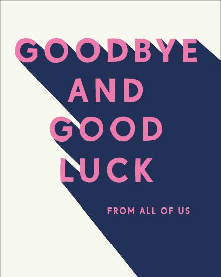 farewell card good bye good luck