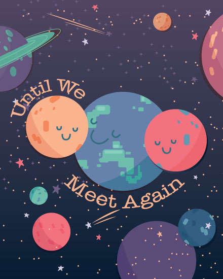 farewell card group hug planets