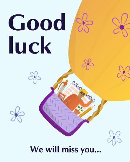 farewell card good luck we will miss you hot air balloon