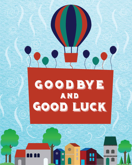 farewell card hot air balloon sign